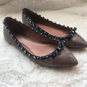 TORY BURCH 9.5 Pointy Toe Embellished Flats